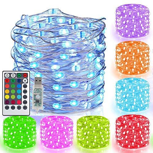 USB LED Bunt Lichterkette, 10M 100er LED Kupferdraht Lichterkette Außen, 16 Farben 132 Modi Wasserdicht Fairy Lights, RGB Kupfer Lichterkette Farbwechsel mit Fernbedienung für Kinderzimmer Party Deko