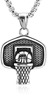 HZMAN Basketball Backboard Basketball Rim Stainless Steel Pendant I CAN DO All Things Strength Bible Verse Necklace