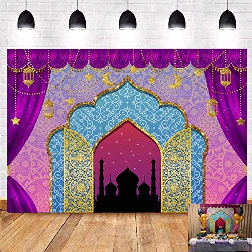 Arabian Nights Magic Genie Theme Photography Backdrop 5x3ft Moroccan Birthday Party Decor Banner Gold Glitter Indian Bollywood Princess Girl Sweet 16 Baby Shower Photo Background Booth Studio Props