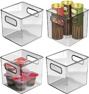 mDesign boite pour frigo pour ranger les aliments (lot de 4) – boite en plastique – caisse de rangement avec poignées pour...