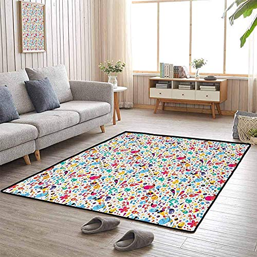LAURE Flagship Carpets Happiness Vibes with Flowers Stars Musical Pitch Tempo Sound Hearts Design Infantile