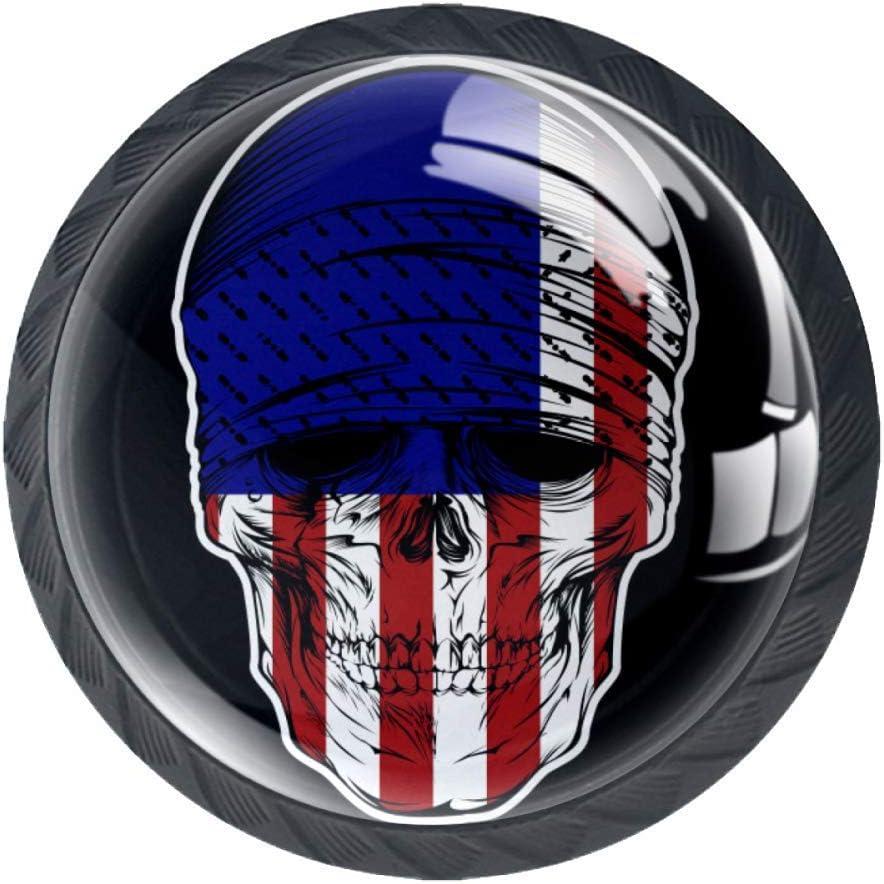 Shiiny Skull Bandana Latest item with USA Flag Knob Handle Tampa Mall Glass Drawer Pull