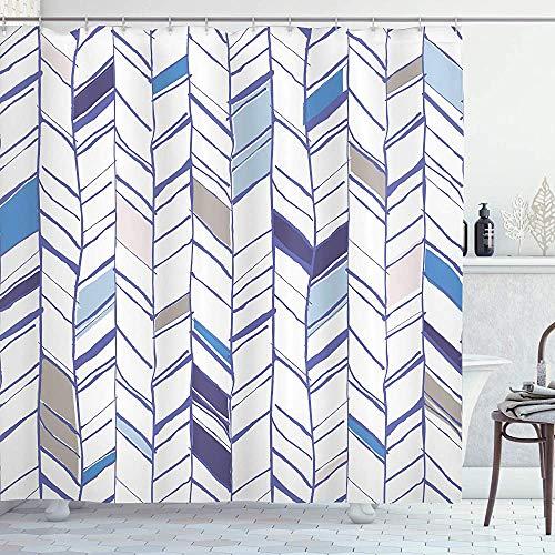 ASDAH Chevron douchegordijn Tribal Zigzag Lijnen Patroon in diverse tinten Geometrische schets doek stof badkamer Decor Set met haken Taupe wit 66 * 72in