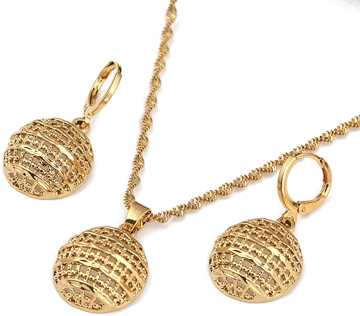 24k Gold Jewelry Set Necklace Earrings Pendant African Round Beads Jewelry Set for Women