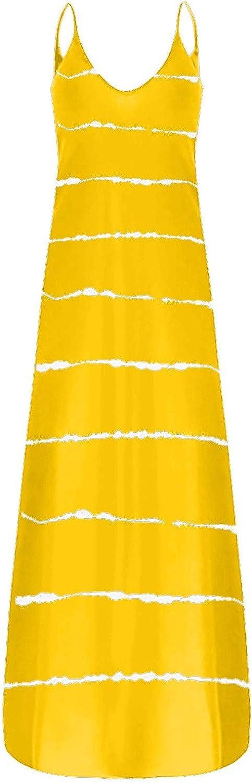Tavorpt Maxi Dresses for Women, Women's Casual Sleeveless Printing Pockets Cami Dress Loose Long Dress Beach Sundress