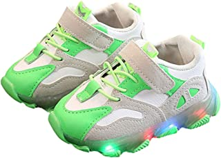 Hopscotch Baby Boys and Baby Girls Pu and Synthetic/Pu Fixed Lace LED Sneakers in Green Color