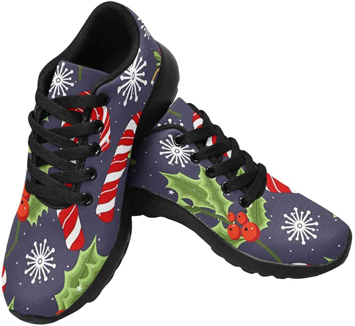 InterestPrint Women's Running Shoes Lightweight Non-Slip Breathable Walking Shoes Christmas Reindeer and Holiday Items