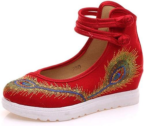Lian Chaussures Brodées Printemps Et été Rétro Vent National Plume De Paon Broderie Vieux Pékin Chaussures en Tissu Tendon Fond Square Dance chaussures (Couleur   Rouge, Taille   36)