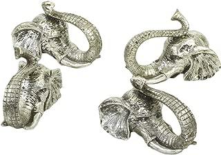 Koyal Wholesale Elephant Animal Napkin Rings, Set of 4, Unique Napkin Rings for Wedding, Thanksgiving, Christmas, Easter, Elegant Modern Gift Ideas (Elephant, Silver)
