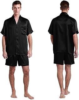 LILYSILK Men's Short Silk Pyjamas Set Contrast Trim 22 Momme Pure Silk