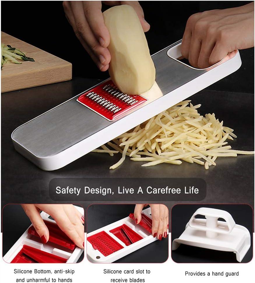 6in1 Knoblauch-Raspel Kartoffelschäler, Küche Shredder Gadgets Gurke Karotte Slicer Reibe Gemüse Cutter,2 2
