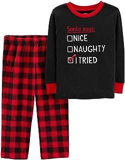 Infant Boys Naughty Nice Thermal Top Fleece Pants Christmas Pajamas