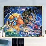 Pareja Enamorada del océano DIY Pintura por números Paint by Numbers Kit Pintar por números para niños Adultos Kit decoración para el hogar decoración Regalos con Pinceles 16x20 (40x50cm)