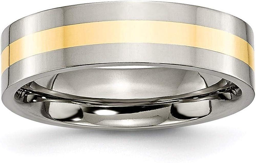 Titanium and 5 ☆ very popular 14k Yellow depot Gold Inlay 6mm Wedding Band Ring Flat