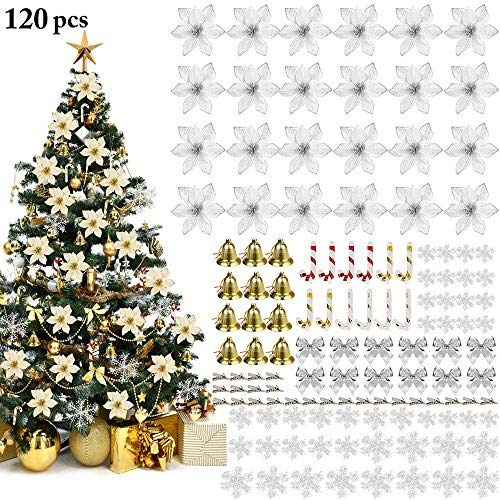 Redsa 120Pcs Glitter Poinsettia Flowers Set with Clips, Artificial Snowflakes Tree Bells Bowknots Small Walking Sticks Christmas Tree Decor Ornaments Set for Xmas Home Party Essential