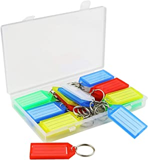 Kuqqi 30 Pack Colorful Plastic Key Tags with Container,Keys Identifier ID Labels with Split Ring Label Window,5 Assorted C...