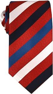 Remo Sartori - Cravatta Lunga Extra Lunga XL in Seta a Righe Regimental Rossa, Lunghezza da 155 cm a 175 cm, Made In Italy...