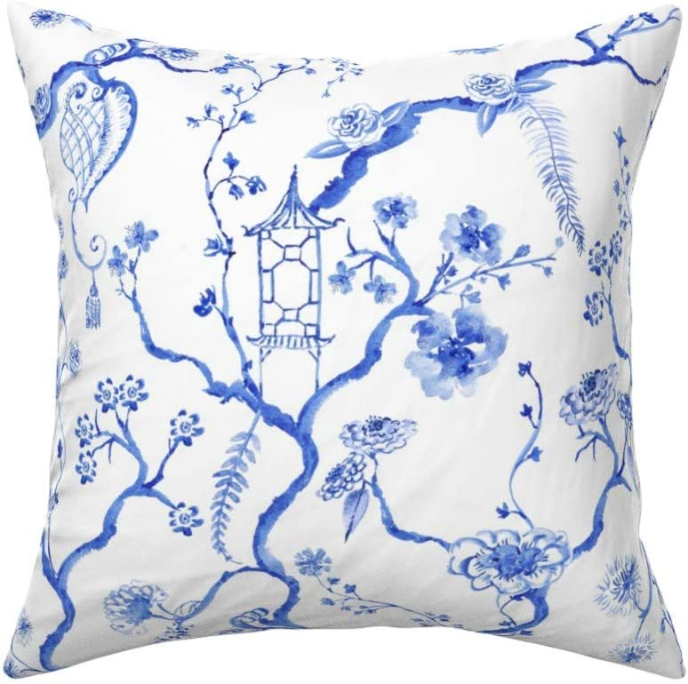 White Blue Floral Chinoiserie Throw Pillow Cover w Optional Insert by Roostery