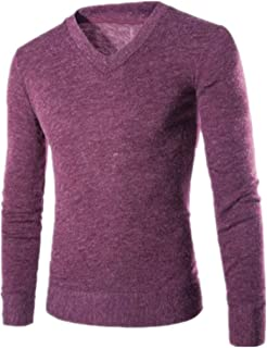 Mens Sweaters Jumpers Classic Lightweight V-Neck Jumper Knitted Sweater Slim Fit Mens Basic Warm Sweater Fall Fashionable ...