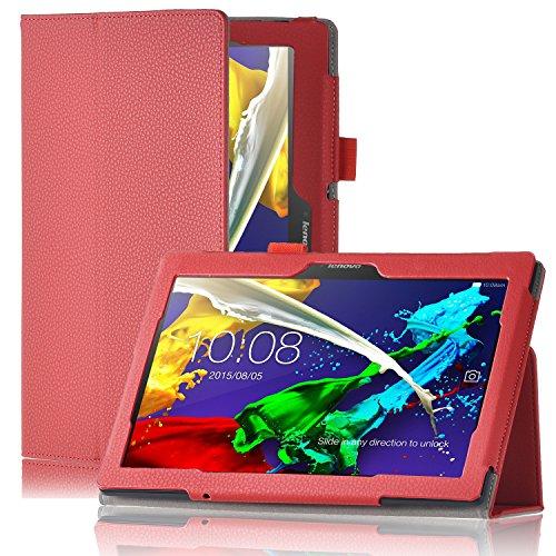 Lenovo Yoga Tab 3 Pro 10 Schutzhülle,IVSO hochwertiges PU Leder Etui hülle Tasche Hülle - mit Standfunktion & automatischem Schlaf Funktion, super 360° Anti-Wrestling, ist für Lenovo Yoga Tab 3 Pro 10 Zoll Tablet-PC ideal geeignet, Rot