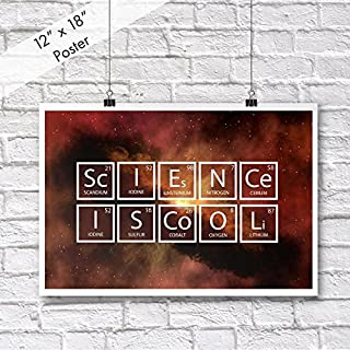 DHDM Science Is Cool Periodic Table Poster | 12-Inches By 18-Inches | Inspirational Motivational Classroom | JSC808