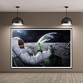 zxianc Creative Astronaut Drinking Beer on The Moon Canvas Print Poster Wall Art Picture for Living Room Home Decor 60x80cm Without Frame