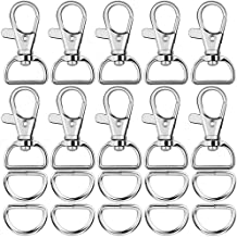 """Paxcoo 60Pcs Swivel Snap Hooks and D Rings for Lanyard and Sewing Projects (1"""" Inside Width)"""