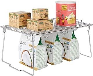 mDesign étagère pour armoire – étagère en métal pliable pour la cuisine avec pieds retirables – système de rangement moder...