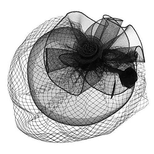 FHKGCD Señoras Banquete Sombreros Fascinator Headwear Fancy Feather Pillbox Sombreros Ocasión Formal Vestido Derby Tocado, Negro,