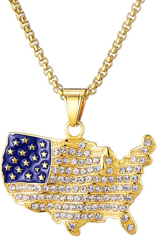 Nsitbbuery Hip Hop 18K Gold Plated Stainless Steel American Flag Map Tag Pendant Ice Out Crystal Chain Necklace