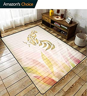Bigdatastore Rooster Traditional Area Rug Living Room, Abstract Artistic Design Rooster Figures Animal Print Opposite Directions, Fashionable High Class Living Dinning Room(6'x 9')