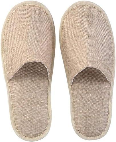 ZPPLD Einweg-geschlossene Toe Spa Slippers Linen Fabric Thickening Non-Slip Slippers,Beige,20pair