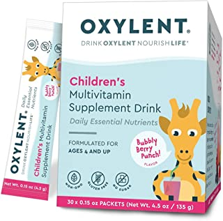 Oxylent Children's Multivitamin Supplement Drink - Sugar-Free & Effervscent for Easy Absorption of Vitamins & Minerals for Cognitive Well-Being and Immune Support, Bubbly Berry Punch Flavor, 30 Count