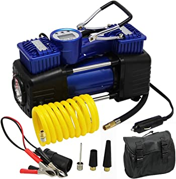 FORUP Dual Cylinder Air Compressor Pump, Heavy Duty Portable Air Pump, 150 PSI, LCD Backlit Digital Display, Auto 12 V Tire Inflator for Car, Truck, RV, Bicycle and Other Inflatables: image