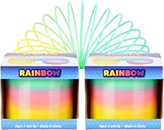 3 Inches The Dreidel Company Plastic Multicolor Slinky Coil Spring 2-Pack Party Favor for Kids Goody Bag Fillers 80mm