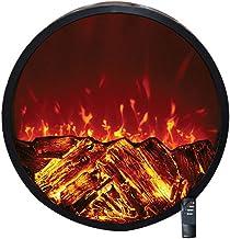 Chimenea redonda for el montaje empotrado en la pared de montaje - estufa ornamental for calefacción eléctrica con llamas W Registros 3D - detector de seguridad - Control remoto inteligente - 1500 W n