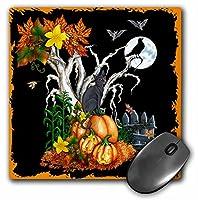 3drose LLC 8x 8x 0.25インチHalloween Night with aブラック、Cat、Creepyツリー、フルMoon Bats And Jack O Lanternsマウスパッド(MP 13069_ 1)