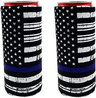 2pcs Neoprene Slim Beer Can Cooler Tall Stubby Holder Foldable Stubby Holders Beer Cooler Bags Fits 12oz Slim Energy Drink & Beer (Black American Flags)