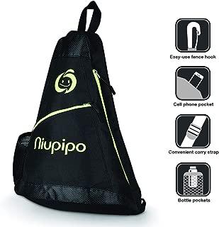 N Pickleball Bag - Professional Pickleball Bag Fits Multiple Paddles Black & Optic Nylon Pickleball Bag with 3 Zipper Pockets & Bottle Holder, Adjustable STRP Sling Bag