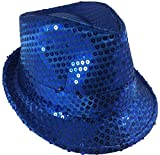 Block Buster Costumes Adults Navy Blue Light Up Sequin Gangster Fedora Hat Costume Accessory