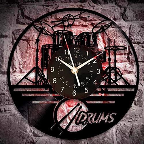 WERWN Reloj de Pared de Vinilo de Estilo Retro Negro Creativo Fresco decoración Moderna única
