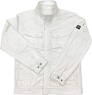 [BMC ブルーモンスタークロージング] ホワイトデニム ジャケット メンズ 作業服 作業用 ストレッチ チノ素材 ライダース ブルゾン ヨコハマホワイト
