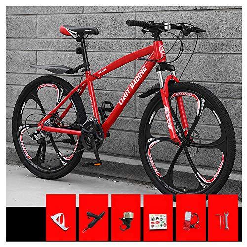 KXDLR Bicicleta de montaña, 26 Pulgadas Ruedas de Bicicleta Edad, Estructura de aleación de Aluminio desplazable Bloqueo Delantero Tenedor-Suspensión de Bicicletas de montaña,Rojo,21 Speed