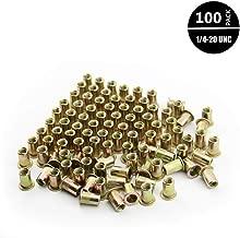 Xtozon 100 Pcs 1/4-20UNC Zinc Plated Finish Carbon Steel Rivet Nuts, Flat Head Threaded Inserts Nutsert