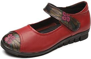 [イノヤ]モカシンシューズ レディース 牛革 ベルクロ 年寄り 花柄 フラット ラウンドトゥ 滑り止め 柔らかい 屈曲性 通勤 歩きやすい 国立風 ブラック レッド 婦人靴 おしゃれ 耐摩耗性 オックスフォードシューズ 軽量 敬老の日 エレガント