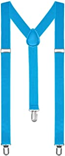 Boolavard Braces/Suspenders One Size Fully Adjustable Y Shaped With Strong Clips