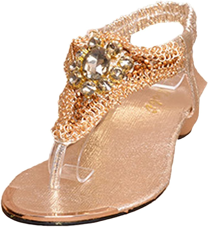 ONCEFIRST Women's Fashionable Elastic T-strap Gladiator Rhinestone Slipsole Summer Sandals