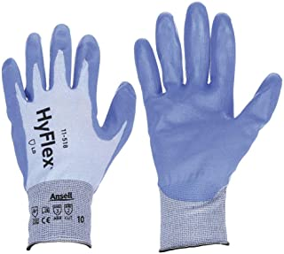 Ansell Size 9 HyFlex 18 Gauge Ultra Light Duty Cut Resistant Blue Polyurethane Palm Coated Work Gloves With Blue Dyneema, Diamond Technology Fiber, Spandex And Nylon Liner And Knit Wrist