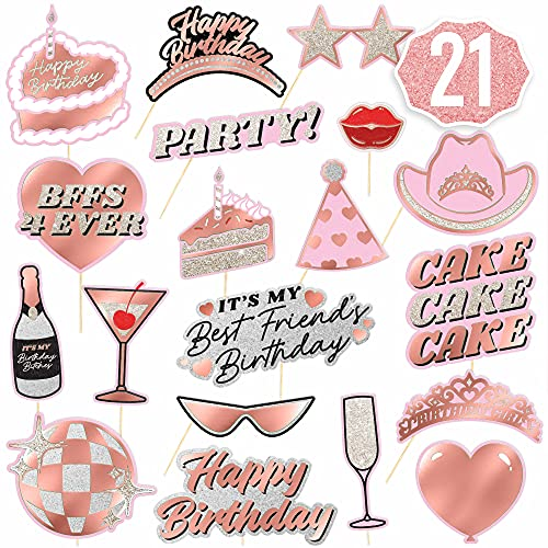 xo, Fetti Birthday Party Decorations Photo Booth Props – 21 Pre-Assembled Pieces   Rose Gold + Pink Bday Girl Gifts…