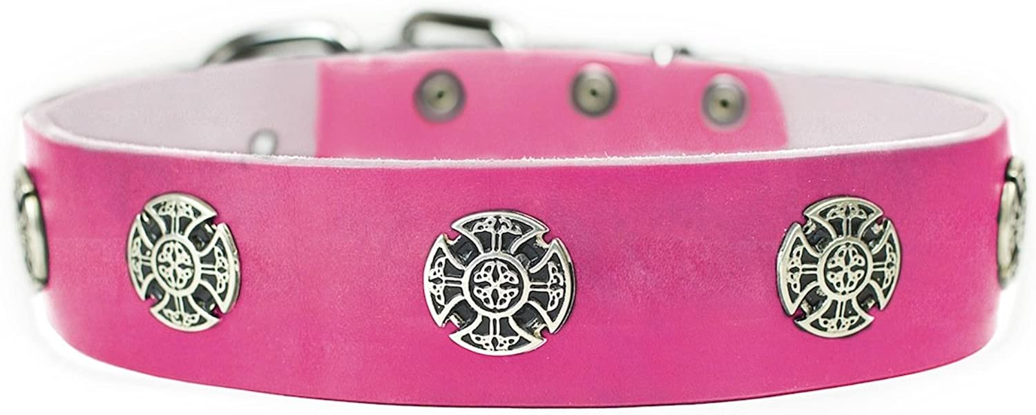 Dean and Tyler  THE WARRIOR  Dog Collar With Nickel Buckle  Pink  Size 46cm By 4cm Width. Fits neck size 16 Inches to 20 Inches.